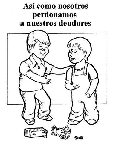Enseñando a los niños la oración del Señor en español.