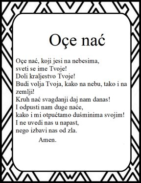 The Lord's prayer in bosnian Oce Nac