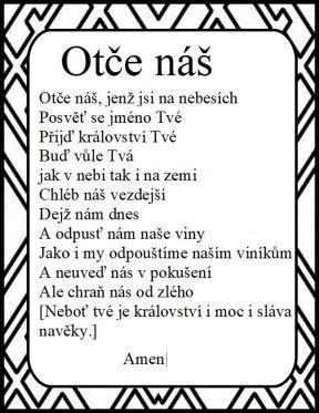 Lord's Prayer in czechoslovakian