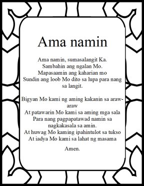 The Lord's prayer fillipino Ama Namin