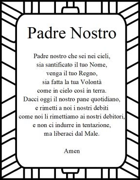 The Lord's prayer in italian Padree Nostro