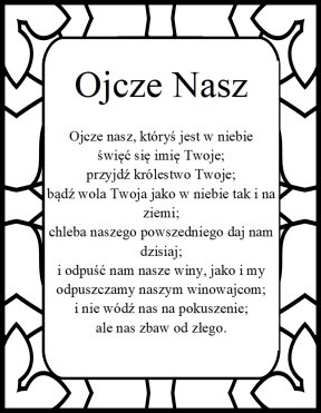 The Lord's prayer in polish Ojcze nasz