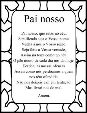 The Lord's prayer in portuguese Pai Nosso