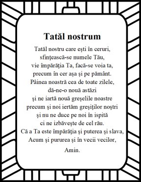The Lord's prayer in romanian Tatal nostrum