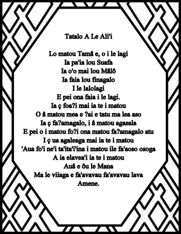 The Lord's prayer in samoan