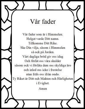 The Lord's prayer in swedish Var Fader