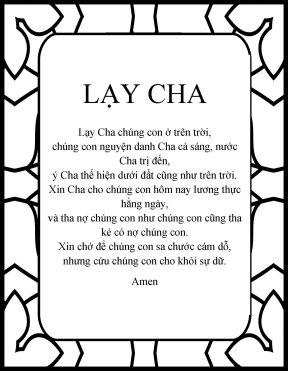 The Lord's prayer in vietnamese Lay Cha