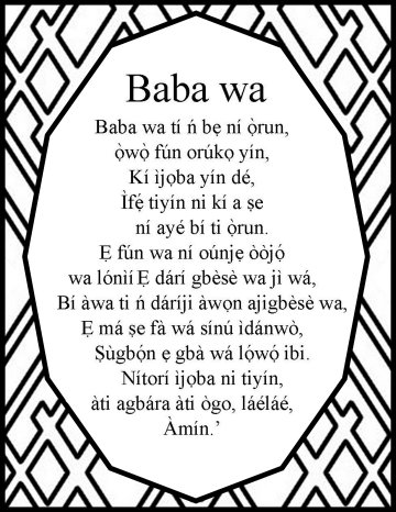 The Lord's prayer in yorubaOce Nac