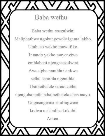 The Lord's prayer in zulu